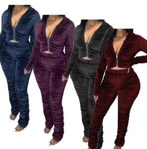 Les femmes plissés Survêtement En deux pièces Tenues Mode capuche Zipper Veste manteau à capuchon hauts écourtés et Pantalon Legging Collants Vêtements Set F92911