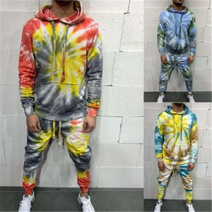 Man Tie-dye Winter 2Pcs Sets Fashion Trend Long Sleeve Loose Hooded Tops Drawstring Sports Trousers Suits Designer Male Casual Tracksuits