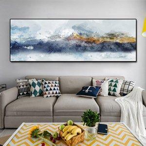 Aquarelle jaune et montagne bule de montagne peinture peinture murale moderne mur de mur de décoration abstraite décor à la maison peinture impressions sans cadre