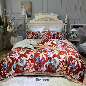 Christmas Red Floral Printed Bedding Set King Size Quilt Duvet Cover Bed Sheet Pillowcase Home Textile Wedding Bedcloth New Style