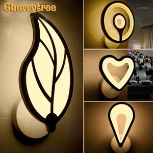 Luz de pared moderna Lámpara de pared Hoja / de forma de corazón Luz de noche LED Lámpara de cama Lámpara de noche Dormitorio Sconte Fixture Vanity1