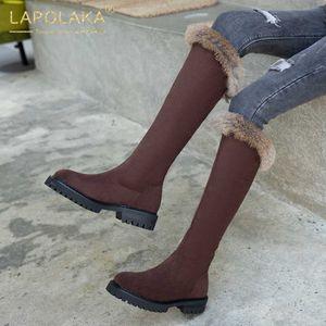 Lapolaka 2020 Hot Sale Aggiungi Pelliccia caldo inverno stivali Scarpe Donna comoda piattaforma ginocchio Concise Doposci femminile stivali alti