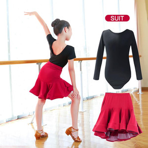 New Children Latin Ballroom Dance Dress Girls Performance Latin Suit Kids Dance Top & Skirt Sets Competition Costumes