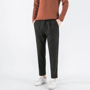 2020 Winter Men's Heavy Thicken Woolen Pants Slim Fit Suit Pants Formal Business Cotton Casual Homme Trousers Size 28-38