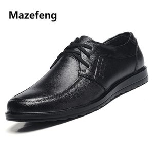 Mazefeng 2020 New Fashion Spring Autumn Men Dress Shoes Men Leather Shoes Business Male Work Round Toe Lace-up Antiskid