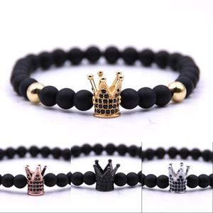 Corona perline Braccialetto Blaciale Blacked Black Jewelry Wrap Catena Uomo Donne Donne Bracciali in pietra naturale Rame Inlaid Zircon 2 8BB G2B