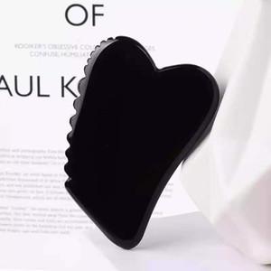 Natürlicher schwarzer Obsidian Gua Sha Werkzeug 100% Original Stein Guasha Board Sägezahnkopf Spa Akupunktur Kratzen Massage Gesichtspflege Werkzeug