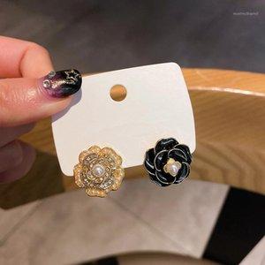 Delicate Rose Flor Stud Brincos para Mulheres Meninas Coreano Clássico Assimetria Brincos Ear Cuff Fashion Jewelry1