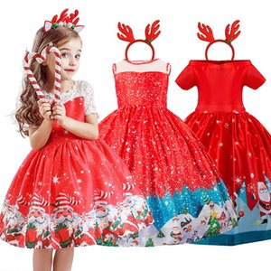 Red Christmas Dress Santa Clus Pattern New Year Costume Kids Dresses For Girls Xmas Evening Party Ball Gown Clothes 4-10 Years