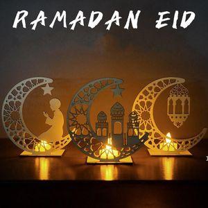 Ramadan Wooden Table Top Decor Mubarak Islam Musulmano Eid Moon Star Star Ornamenti da tavolo Home Office Party Decor DHB4561