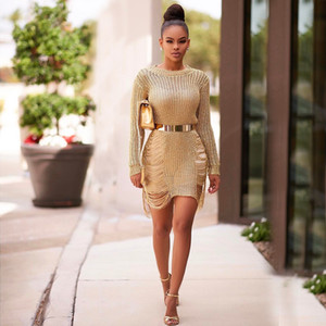 Women Party Dress CrewNeck Hollow Out Mini Dress Beach Sexy Overall Cover-ups Dresses Seaside Holes Body Sheath Knitted Sweater Dresses