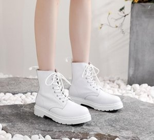 Women's Martin Boots Eight Holes Unsex Hiking Shoes Winter Rubber Sole Lace-up Mid-calf White Casual Shoes Men'sSnow Boots