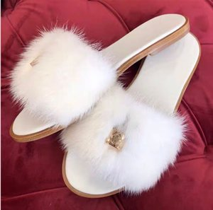 Elegant Women Slides Luxury Slippers with Lock, Lock it Flat Mules Mink Fur Sandals for Lady Casual Beach Party With Box,Size 35-41