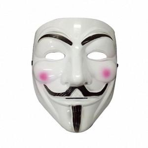 Máscaras forma de V para las máscaras de los hombres accesorios del traje de Halloween del partido de la venganza clásico macho Máscara de Cosplay para hombre Blanco Amarillo Accesorios KMCI #