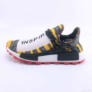 2020 New Qiusneake Human race Hu trail x pharrell williams men designer shoes Solar pack Womens running shoes Blank Canvas trainers sneaker
