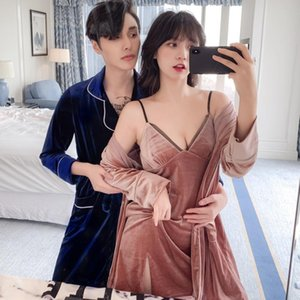 Autumn Long-sleeved Wedding Dressing Gown Gold Velvet Couple Pajamas Suspenders Nightdress Two-piece Nightgown
