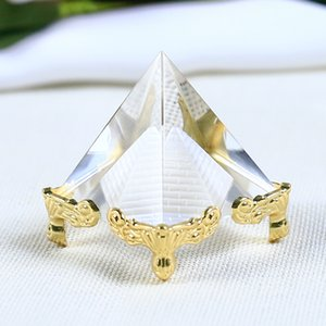 4CM Natural Transparent Crystal Pyramid Miniature Figurines Laser Engraved Ornaments Clear Reiki Healing Home Decoration Gifts