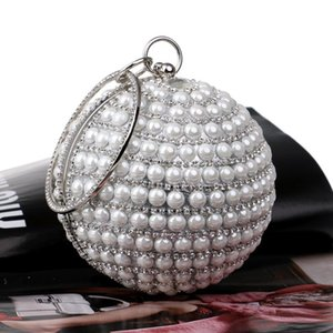 Women Pearl Dot Day Clutches Evening Bag Ladies Party Wedding Bride Circular Beading Crossbody Bag Makeup Bags Diamonds Handbags