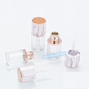 5ml Mignon vide Marbre Blanc Cap en plastique transparent Lip Gloss Tube outil de beauté Rouge à lèvres Bouteille cosmétiques Baume récipient de stockage