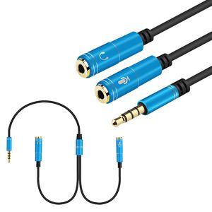 2 in 1 Cavo splitter per cuffie da 2 in 1 Cavo di prolunga 2.5mm Y Audio Jack Cable 3.5mm Cavi maschio a femmina AUX
