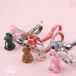 PVC Geometric Cartoon Keychain Funny Dinosaur Keychain Women Jewelry Cute Charm Bags Key Chain Car Key Ring Accessories WY823Q1