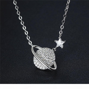 925 Sterling Silver with Cubic Zirconia Saturn and Planet Pendant Necklace for Women Bridesmaid Gift Jewelry