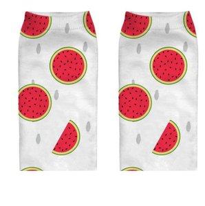 3d printing cartoom fruits foods socks cute women girl print lemon pineapple watermelon strawberry pattern yoga fitness short sock