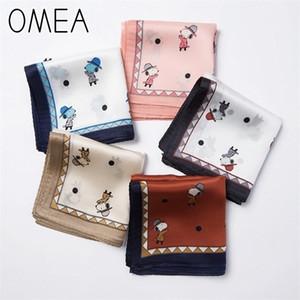 OMEA Small Square Real Scarf Women Lovely Little Dog Cartoon Luxury Kerchief Headscarf Bag Decoration Neckerchief Silk Blue 201018