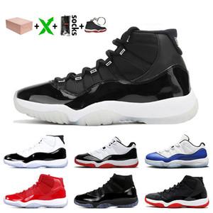 Con la caja 25 Aniversario de plata metálico 11s Jumpman 11 zapatos de baloncesto de las mujeres de los hombres de rasoJordánRetro Bred 11 Concord azul zapatillas de deporte