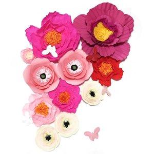 2020 Dev Krep Kağıt Yapay Çiçekler 11pcs + Kelebekler Düğün Dekor Bebek Hemşirelik Windows Görüntü El Yapımı El Sanatları özelleştirme