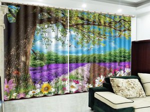 Under The Big tree, Wild Flowers And Beautiful Scenery, 3D Landscape Curtains, Interior Decoration, High-Grade Sunshade Curtain