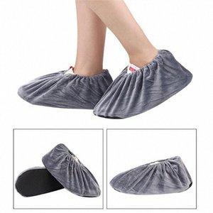 El más reciente Mrosaa 2 piezas de franela Overshoes reutilizables y lavables antideslizante Cubrezapatos elasticidad a prueba de polvo de arranque Overshoes AgPR #