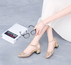 2019 Guciheaven testa quadrata sandali spessi tacco donne fibbia formato della cinghia 34-40 0928