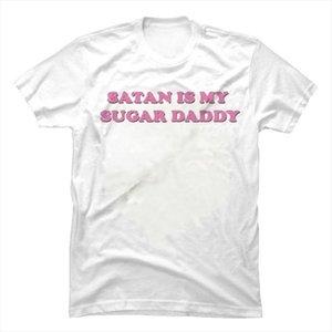 HAHAYULE Summer Fashion Top Tee Satan Is My Sugar Daddy Tumblr Girls Shirt Aesthetic Clothing Sugar Baby Tops Kawaii T Shirt