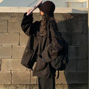 Nuevas herramientas de primavera Mujeres unisex chaqueta suelta estudiante bf Harajuku abrigo sobresaliente chaqueta femenino Básico AperS1