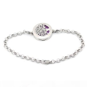 """tree of life 25mm Magnet Aromatherapy Essential Oils Stainless Steel Diffuser Perfume Locket bracelet(length8.6"""") include 10pcs felt pa"""