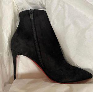 Ünlü Kış Markalar Eloise Ganimet Kadın Kırmızı Alt Bilek Boots Yüksek Topuklar Lady Patik Sivri Burun Kırmızı Sole Bottes Parti, Düğün EU34-43