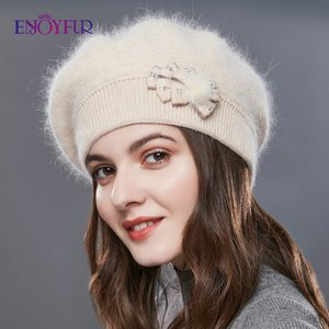 ENJOYFUR Cashmere Beret Hat Female Rabbit Knitted Winter Hats Caps Lady Middle-Aged Cap Fashion Bow-Knot Ball Gorro Warm Hat 201027