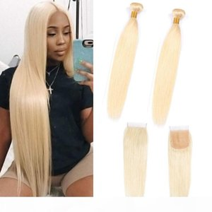 Indian Virgin Hair Silky Striaght Yirubeauty 613# Blonde Bundles With 4X4 Lace Closure Middle Three Free Part Straight Human Hair Wefts
