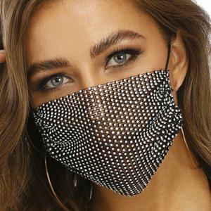 Rhinestone Mask Women Diamond Crytal Decoration Jewelry Facemask Fashion Sexy Glitter Mesh Net Party Show Mouth Mask For Wedding