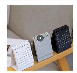 2021 Simple Black White Grey Series Mini Desktop Calendar Dual Daily Schedule Table Planner Yearly Agenda Organizer Office
