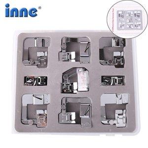 Inne 9pcs Máquina de coser Presser Pies Pies Juego Conjunto Con Caja Herramientas Cantante Herramientas Accesorio Ajustable Tap Bias Material Rolled1