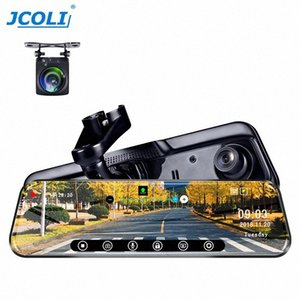 JCOLI 10 Streaming Media Player dello specchio di Rearview DVR con doppio obiettivo di visione notturna Dvr cruscotto videocamera Dashboard Video Re cM2p #