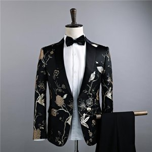 Suit Embroidery Business Groomsmen Bar Group Performance Thin Dress