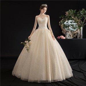 Frau Win trägerloses Kleid 2020 Neue Champagne Up Ballkleid Prinzessin Vintage Spitze Stickerei Brautkleider H103 Q1113