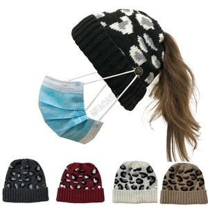 Leopard Printed Knit Winter Hat Women Beanies with Face Mask Button Skull Cap Fashion Ponytail Skullies Helmet Ski Sport Headwear D102703
