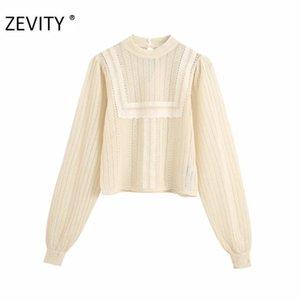 Zevity Women Fashion Bordado de encaje Remiendo