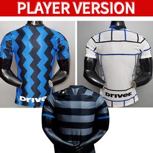 플레이어 버전 Inter 2020 2021 축구 유니폼 Lukaku 밀라노 Vidal Barella Lautaro Eriksen Alexis Hakimi 20 21 축구 셔츠 유니폼 남성