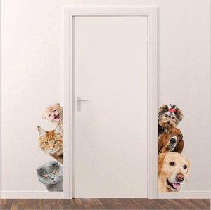 wholesale 500pcs lot cute cat dog 3D wall sticker Funny Door Window Wardrobe Fridge Decorations for Kids Room Home Decor