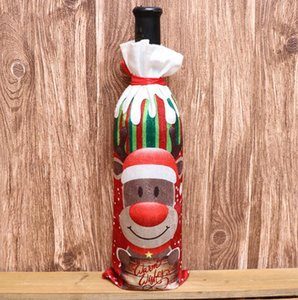 11Styles Christmas Decorations for Home Burlap Embroidery Angel Snowman Wine Bottle Cover Set Christmas Gift Bag Santa Sack HHB2229